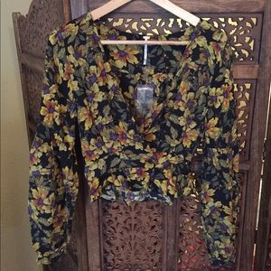 NEW NWT Free People Floral Blouse XS 2